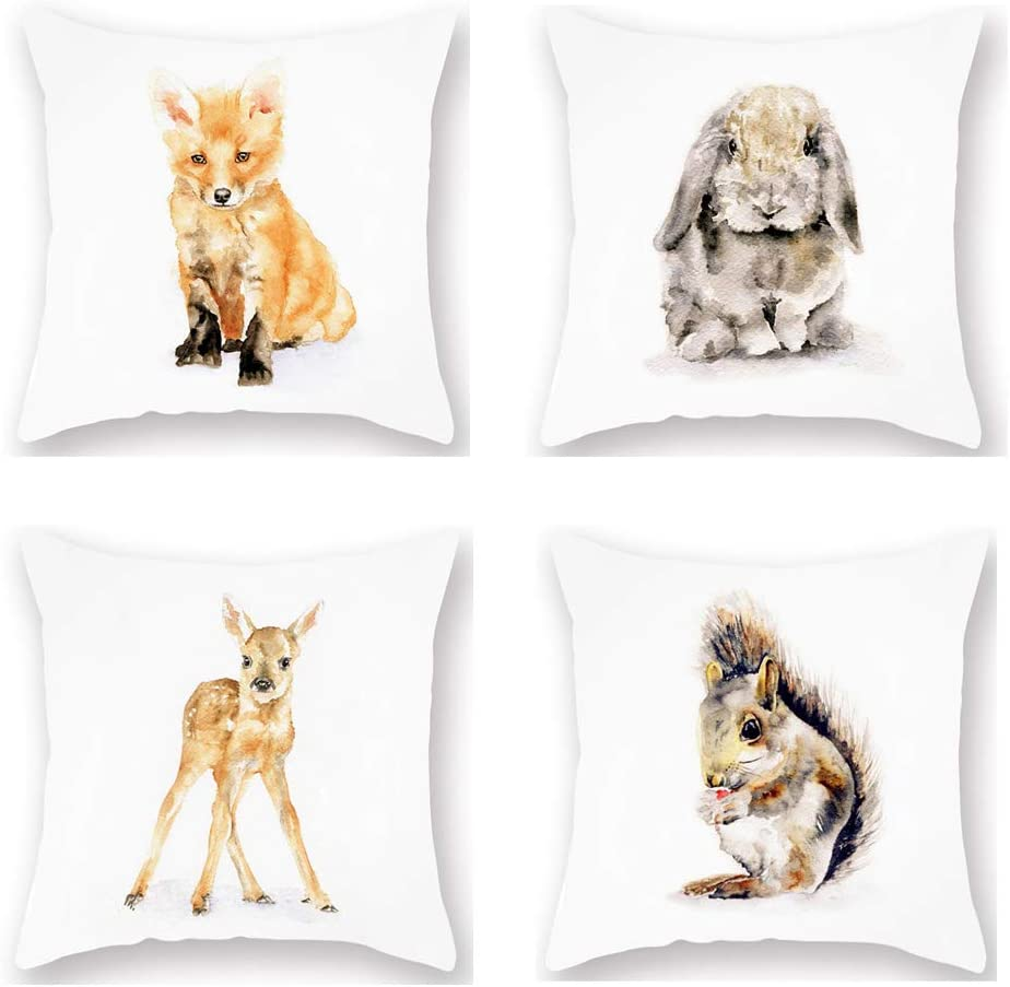 "Set 4 Throw Pillow Covers Cute Forest Animals Theme Pillowcase Decor Watercolor Adorable Fox Rabbit Elk Squirrel Super Soft Cushion Cover 18""x18"" Home Sofa Couch Liveroom Decoration Gift (CF-Forest)"