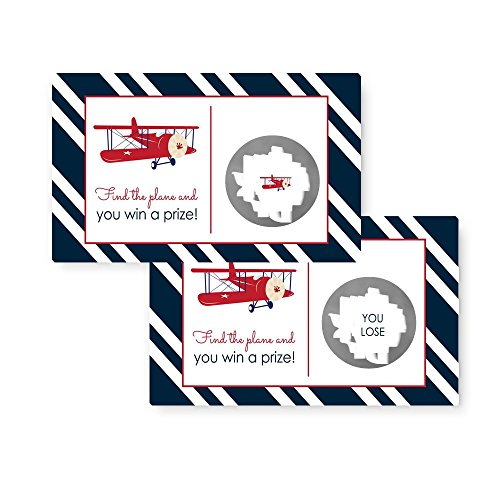 Striped Airplane (Airplane Baby Shower Scratch-Off Game Card Set (28pc.))
