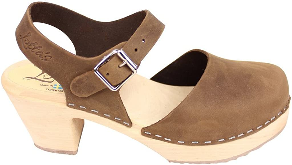 Lotta From Stockholm Swedish Clogs Highwood Mary Jane Style in Brown Nubuck Leather