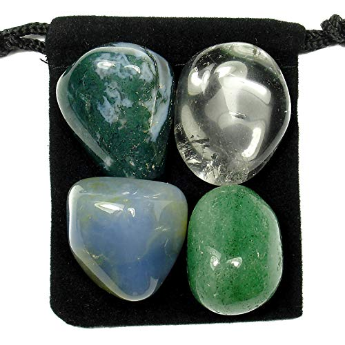 The Magic Is In You Anti-INFLAMMATORY Tumbled Crystal Healing Set with Pouch & Description Card - Aventurine, Blue Chalcedony, Clear Quartz, and Moss Agate