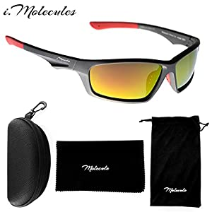 i.Molecules Driving Polarized Sports Sunglasses for Men and Women with UV400 Protection, Anti-Fog Patented Technology. Lifetime Breakage Guarantee (silver and red)