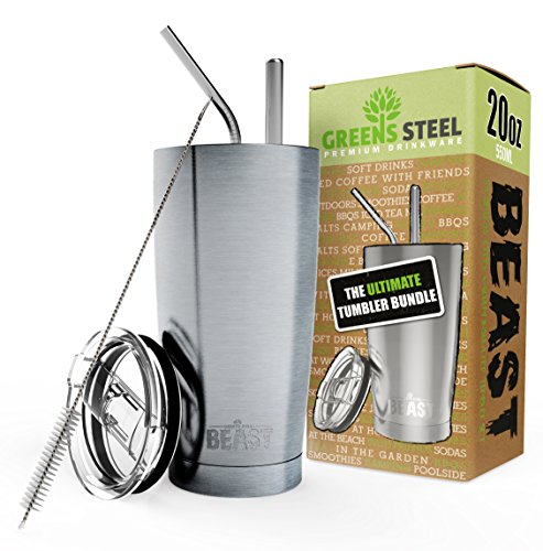 BEAST 20oz Stainless Steel Tumbler Vacuum Insulated Rambler Coffee Cup Double Wall Travel Flask Mug with Splash Proof Lid, 2 Straws, Pipe Brush & Gift Box Bundle By Greens Steel
