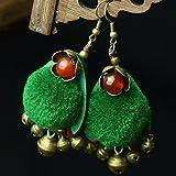 usongs Thai style earrings jewelry national wind plush green wooden balls wind earrings women girls bohemian India