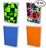 Book Sox Stretchable Book Cover: 4 Print Value Pack Neutral Colors. Fits Most Hardcover Textbooks up to 9''x11''. Adhesive-Free, Nylon Fabric School Book Protector. Easy to Put On Jacket. Wash & Re-Use