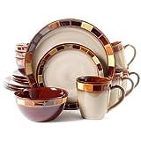 Gibson Casa Estebana Juego de vajilla para 4, 16 piezas, color beige y café