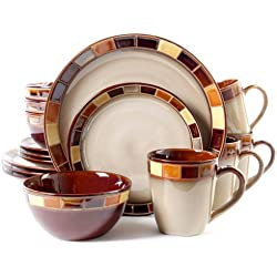 Gibson 70736.16RM Casa Estebana 16-piece Dinnerware Set Service for 4, Beige and Brown