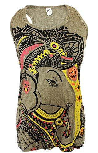 Yoga Tees - Omtimistic mujer dios hindú Ganesh símbolo de OM Racer Back mangas Marrón