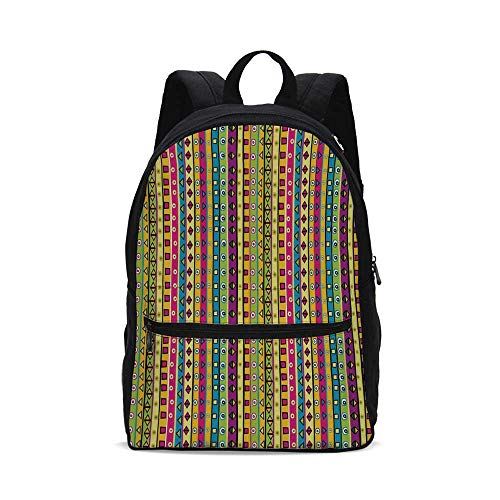 Retro Fashion Canvas printed Backpack,Colorful Striped Abstract Pattern Triangles Squares and Kaleidoscope Fun Shapes Art Print for school,One_Size