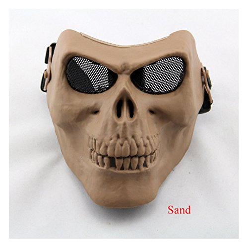 Full Face Mask Tactical Military Skull Skeleton Hunting Costume Party Halloween (Sand)