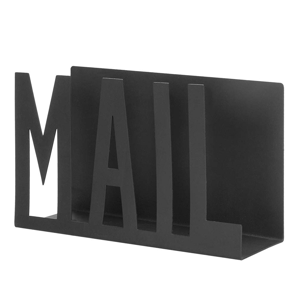 NACTECH Desktop Letter Holder Black Metal Sturdy Cutout Mail Stand Organizer Keep Neat for Office Home School by NACTECH