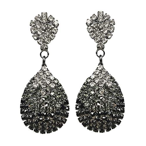 Les Bohémiens Clip-On and Pierced Rhinestone Crystals Gold Silver Black or Ombre Teardrop Dangle Earrings Statement Chandelier Long Drop Earrings for Women (Ombre Clip-On)