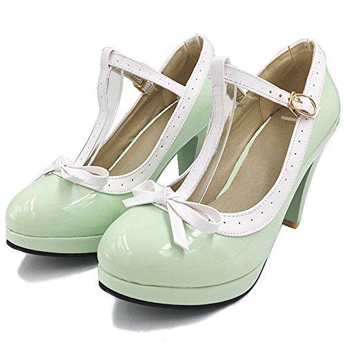 Ferme Escarpins Elegant Ete Grande Bout Sandales Talon TAOFFEN Femme Pointure Green Cheville Aiguille Bride t8qxwx75