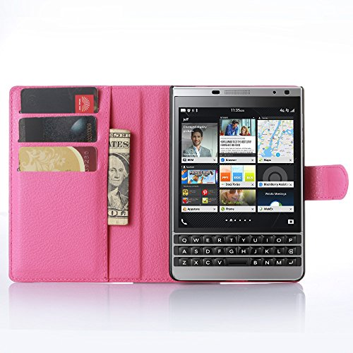 GARITANE Case for BlackBerry Passport Silver Edition,Shockproof Leather Flip Cover Notebook Wallet Case with Magnetic Closure Card Slot for BlackBerry Passport Silver Edition (Hot Pink)