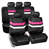 FH GROUP PU006115 Varsity Spirit PU Leather Seat Covers, Airbag & Split Ready, Pink / Black Color