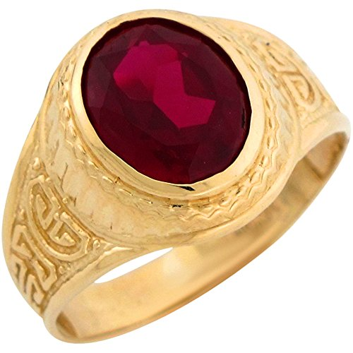14k Yellow Gold Simulated Garnet Greek Design January Bir...