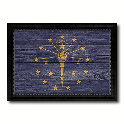 (Indiana State Flag Textured Canvas Print with Black Picture Frame Home Decor Wall Art Decoration Gift Ideas, 15