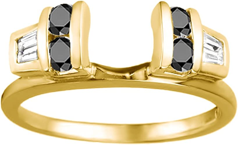 0.5Ct Yellow Silver Unique Mens Ring Black and White Cubic Zirconia Size 3 to 15 in 1//4 Size Intervals