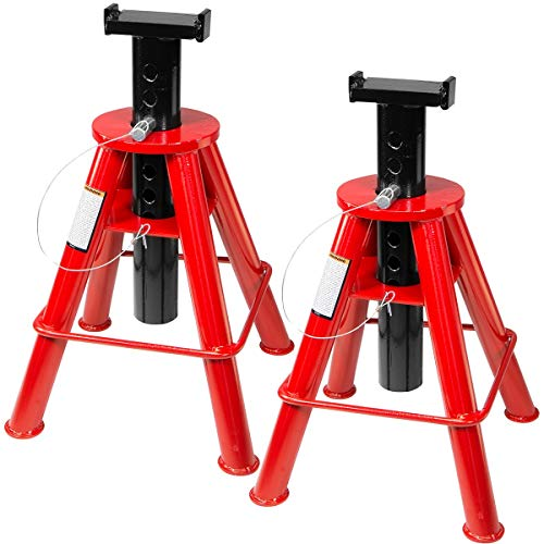 "Stark Set of 2PCS 10-Ton High Jack Stand Pin Type Stand 10-Ton (20,000 lb) Capacity 18-1/2"" to 30"" Adjustable Height"