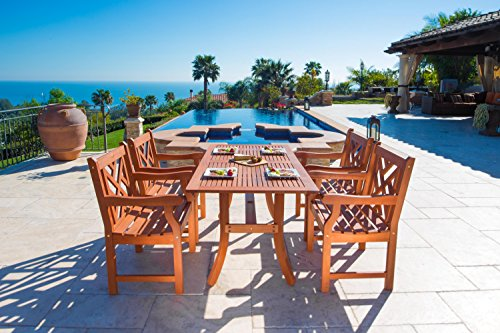 VIFAH V187SET2 Outdoor Wood 5-Piece Dining Set, Natural Wood Finish, 59 by 36 by 29-Inch - Atlantic rectangular table 4 Atlantic armchairs FSC High Density Eucalyptus (Shorea) is pre-treated, expertly kiln-dried, extremely durable for outdoor/indoor use - patio-furniture, dining-sets-patio-funiture, patio - 51c8%2BRvmDvL -