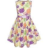 KK54 Girls Dress Colorful Flower Summer Beach Party Size 7-8