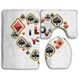 3 Piece Non-Slip Bathroom Rugs Poker I Love You Set Living Room Anti-skid Pads Bath Mat + U Shaped Contour Rug + Toilet Lid Cover