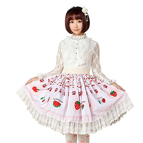 Ainclu Sweet Girl Pink Polyester Lace Fruit Printed Lolita Skirt