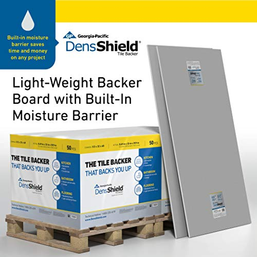 DensShield Tile Backer Board with built-in Moisture Barrier, Sold Per Pallet. One Pallet = 50 sheets. Each sheet (nominal) = ½ in. x 32 in. x 5 ft. ()