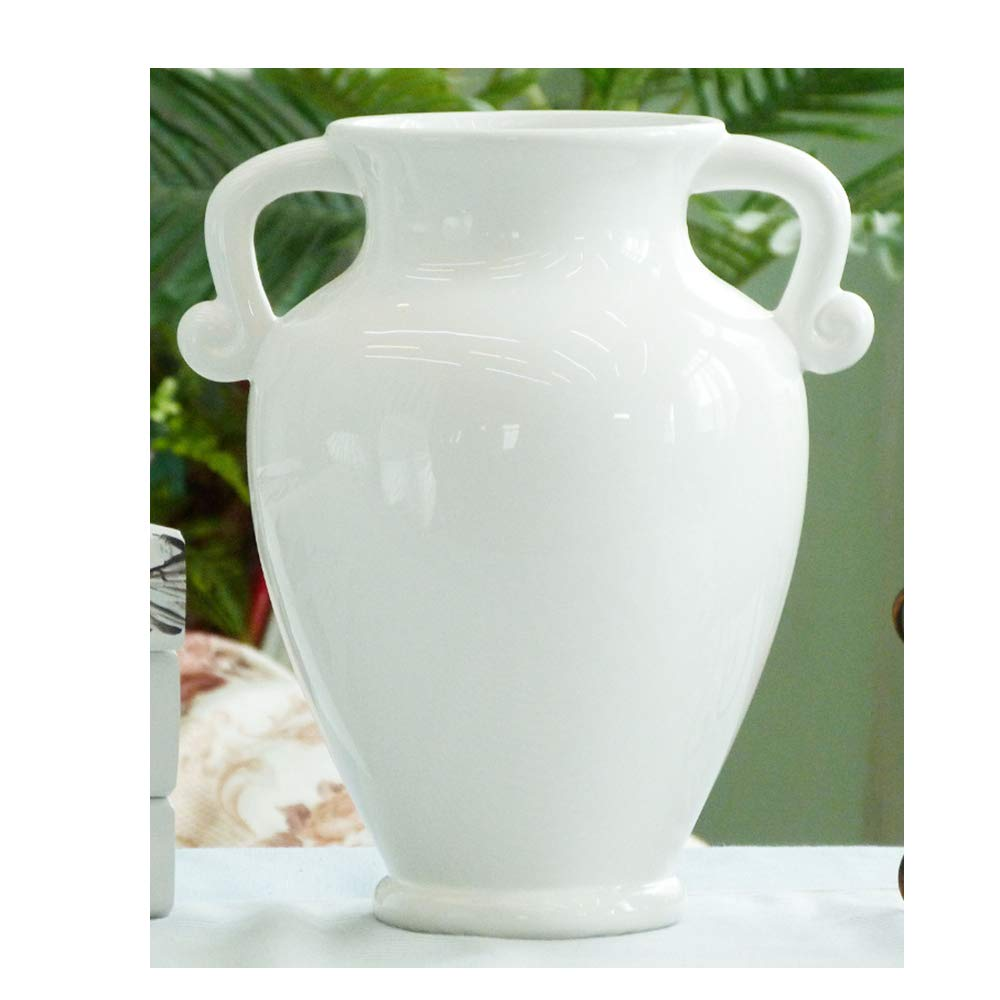 KKunnca Ceramic Vase White Binaural Ceramic Jar Retro European Style Furniture Decorative Ceramic Ornaments