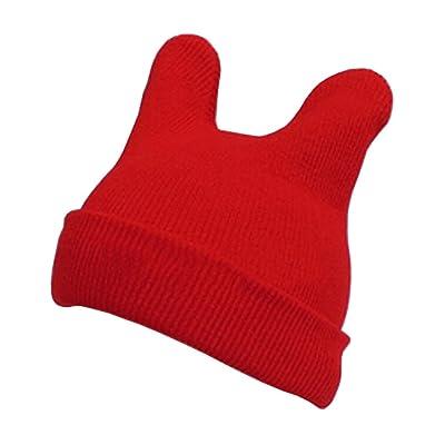 Lovely bébé Bonnet d'enfant en tricot Chapeau cornes de diable Chapeau en laine Chapeau Rouge