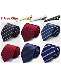 Lot 6 PCS Classic Men's Tie Silk Necktie Woven JACQUARD Neck Ties