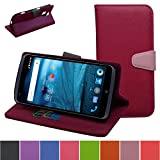 ZTE Grand X Max Case,Mama Mouth [Stand View] Folio Flip Premium PU Leather [Wallet Case] With Built-in Media Stand ID Credit Card / Cash Slots and Inner Pocket Cover For ZTE Grand X Max Z787,Rose Red