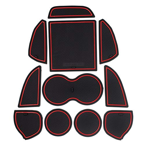 Custom Fit Cup, Door, Console Liner Accessories for Dodge Challenger 2015 2016 2017 2018 2019 11PC Set (Red Trim)