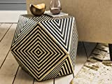 BOHEMIAN ARTEFACTS Bone Inlay Diamond Strip Design Side Table