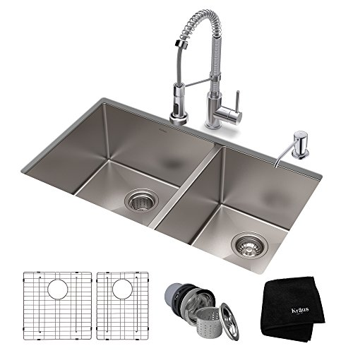 KRAUS KHU103-33-1610-53CH Set with Standart PRO Stainless Steel Bolden Commercial Pull Chrome Kitchen Sink & Faucet Combo