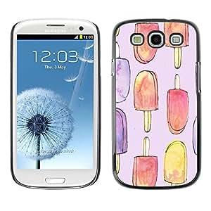 Popsicle del helado del dulce de verano Arte - Metal de aluminio y de plástico duro Caja del teléfono - Negro - Samsung Galaxy S3