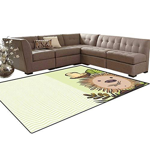 (Mushroom Kids Carpet Play-mat Rug Cute Hedgehog Chevron Stripes Pattern Spiky Animal Wildlife Cartoon Design Room Home Bedroom Carpet Floor Mat 6'6