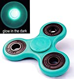 US Seller ~ Light Glowing Tri Fidget Hand Finger Spinner Toy For Stress Reducer / Anxiety Relieves (Perfect For ADD, ADHD, Anxiety, and Autism Adult) Coral Green ~ Cafolo