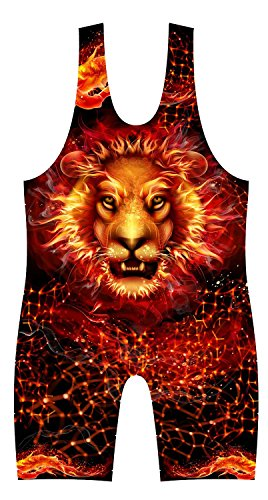 4-Time All American Fire Lion Sublimated Singlet size 2XS 51-70 lbs. ()