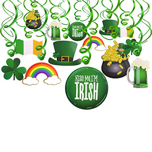 Konsait St.Patrick Day Party Decoration Swirls(30pcs), St Patricks Day Hanging Decorations Lucky Irish Green Shamrock St.Patrick's Day Foil Swirl for St Patrick Party Home Party Favors Supplies Decor]()