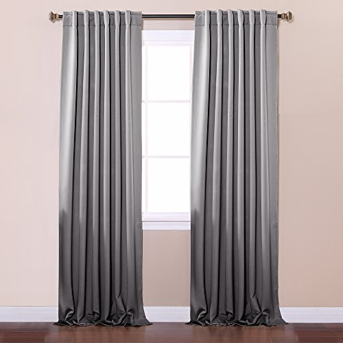 Pink Velvet Drapery Panels (Best Home Fashion Thermal Insulated Blackout Curtains - Back Tab/ Rod Pocket - Grey - 52