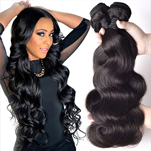 Loose Body Wave Weave - Gali Hair 8A Brazilian Body Wave Human Virgin Remy Hair 3 Bunldes Weaves 100% Unprocessed Hair Extensions Natural Black Color (12 14 16)