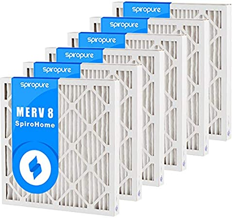 Made in USA SpiroPure 16X20X2 MERV 8 Pleated Air Filters 6 Pack