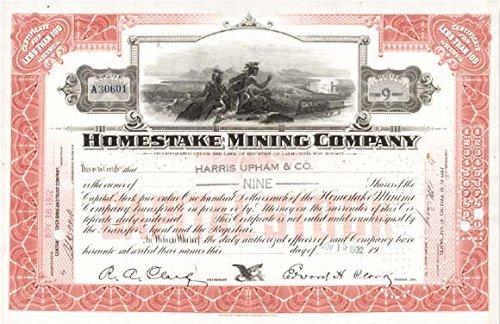 Homestake Mining Company Stock Certificate