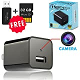 IMPROVED Hidden Camera USB Wall Charger - 32GB Mini Stealth Nanny Spy Cam HD 1080P with Motion Detection for Home, Office, Hotel Security