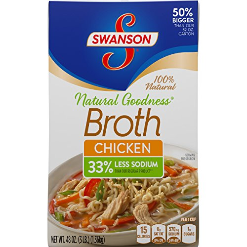 Swanson Natural Goodness Chicken Broth with 33% Less Sodium, 48 oz