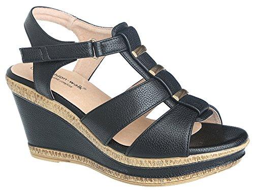 Damenschuhe von Walk breite E Passform Leder gefüttert Sommer Sandale, Größe 3