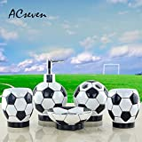 Soccer Football Resin 5 Pieces Bathroom Accessory Set, Creative Soap Dish Liquid Soap Dispenser Toothbrush Holder Tumbler