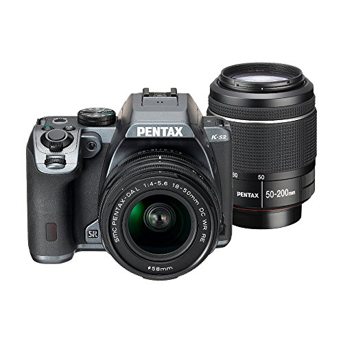 Pentax K-S2 20MP Wi-Fi Enabled Weatherized WR DSLR with 18-50mm and 50-200mm Double Lens Kit (Stone Gray)