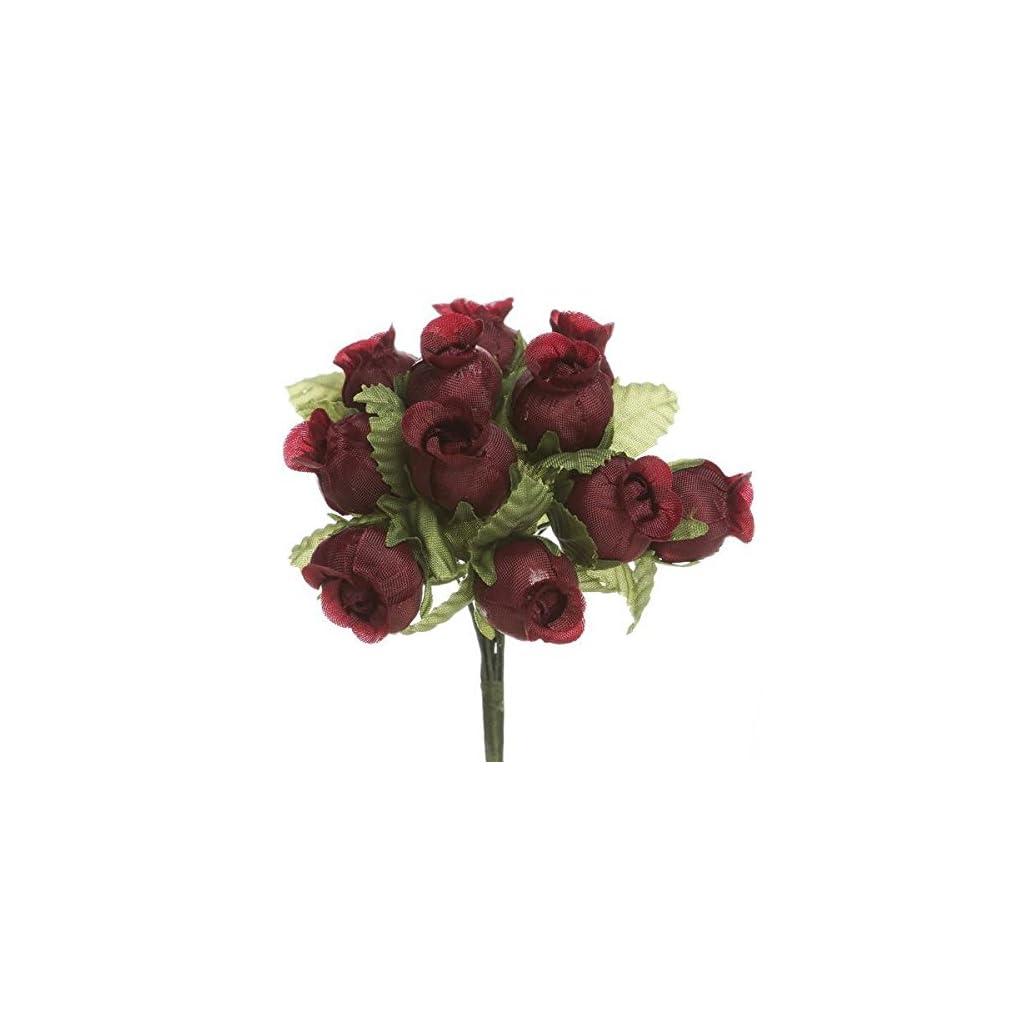 144-Rose-Buds-12-Craft-Flowers-Burgundy-Wedding-Bridal-Shower