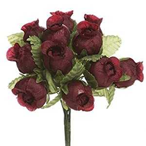 144 Rose Buds 12 Craft Flowers Burgundy Wedding Bridal Shower 77
